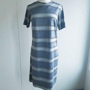 1970s Unlabeled Gray & Black Striped Poly Dress
